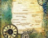Poetry 6x6 Art Print with original Found Text Poem about Time and existence - Altered Book Page - clock faces