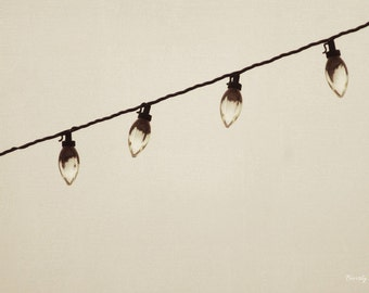 black and white, string of lights, fine art photography