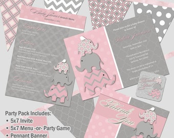 Stacked Elephants Baby Shower Party Pack DIY Printable