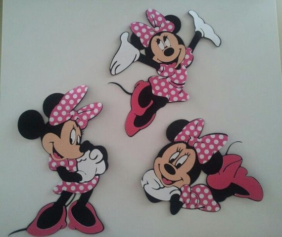 """Set of 3 Minnie Mouse die cuts 6"""" High"""