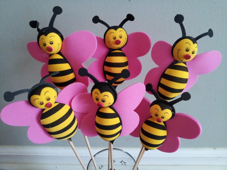 6 Foam Bumble Bee Centerpieces Party Decorations