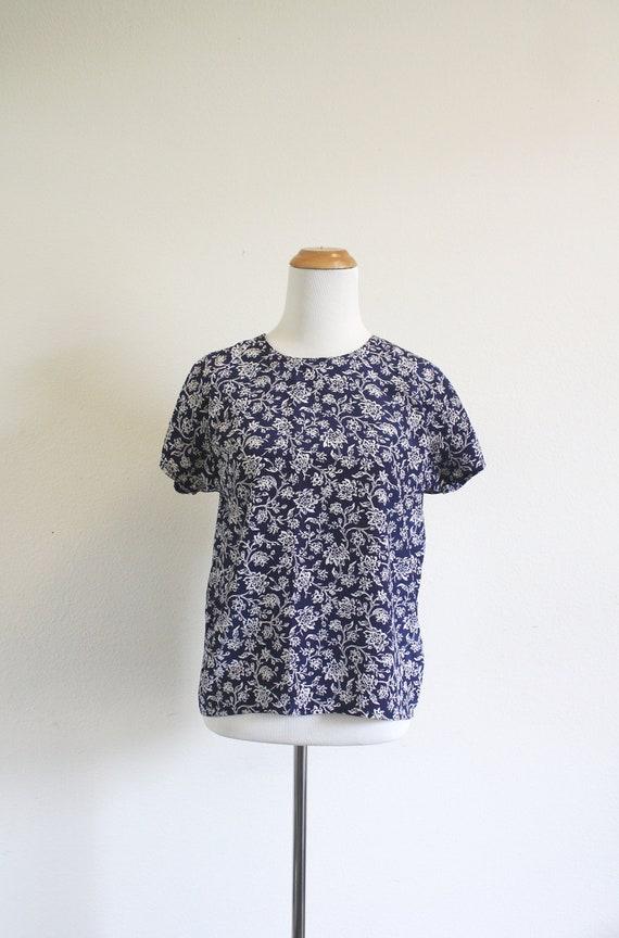 Navy Floral Blouse S/M
