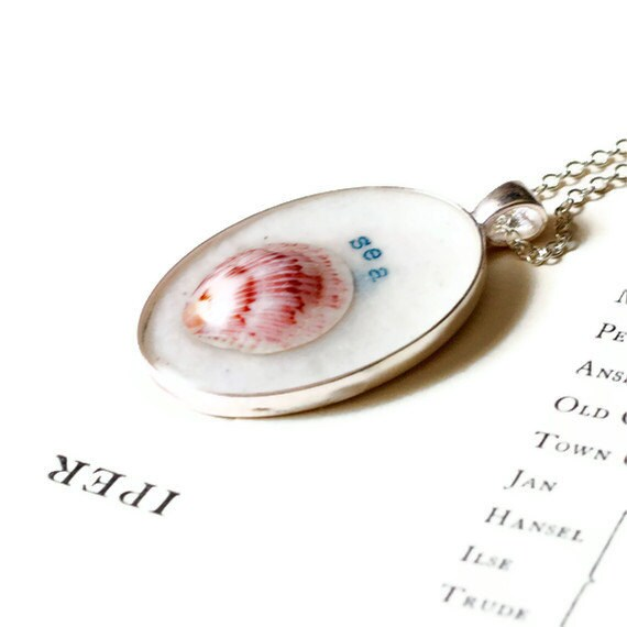 seashell necklace. resin jewelry. red beach nautical handtyped word sea.