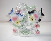 Vintage Fish Lusterware Tropical Fish Figurine Porcelain Pastel Blue Green Pink