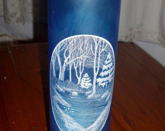 Vintage Candle Holder Blue Glass Winter Scene