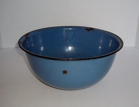 Vintage Blue Enamelware Bowl Chippy Rusty Shabby Chic