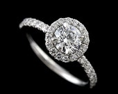 18K White Gold Classic Round Diamond Micro Pave Halo Engagement Ring Setting