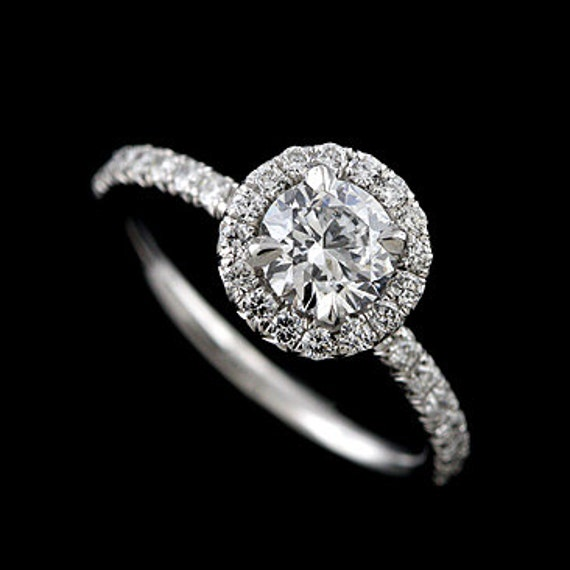 Halo Diamond Ring Classic Engagement Ring French Cut Micro