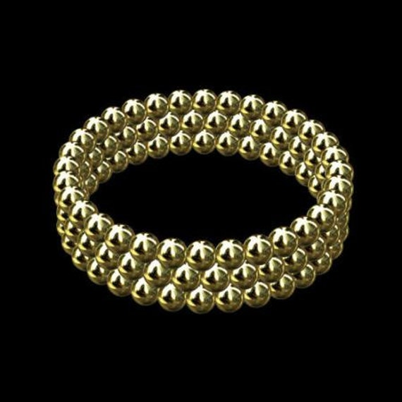 Set Of 3 Bubble Wedding Rings Solid Gold Beads Wedding Band