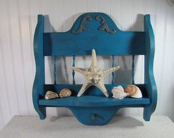 Turquoise Coastal Cottage Chic Vintage Curio Shelf with Peg