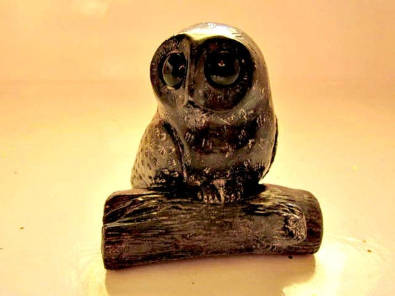 Inuit soapstone carving owl s wolf original by