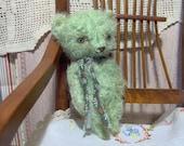 Vintage Style Mini Primitive Green  Mohair Teddy Bear by S Reetz
