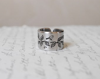 Secret Message Songbird Personalized Cuff Ring