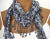 Cotton Scarf in White Gray Dark Blue Women Shawl Cowl Summer Fashion