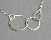 Interlocking Circle Necklace -  Sterling Silver Infinity Three Cirlce Necklace - Eternity Necklace - Sterling Silver Jewelry Handmade