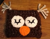 Dark brown thick wool sleepy owl hat newborn to 3 months old