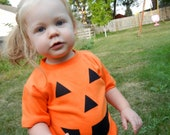 Baby Childrens Halloween Costume, Children's Clothing, Boutique Clothing Kids, Pumpkin T-Shirt