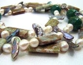 Extra Long Necklace Pearl Necklace Chunky Necklace Statement Necklace Chunky Jewelry OOAK Jewelry