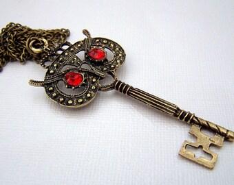 Brass Owl Necklace Key Necklace Owl Jewelry Neo Victorian Key of Knowledge