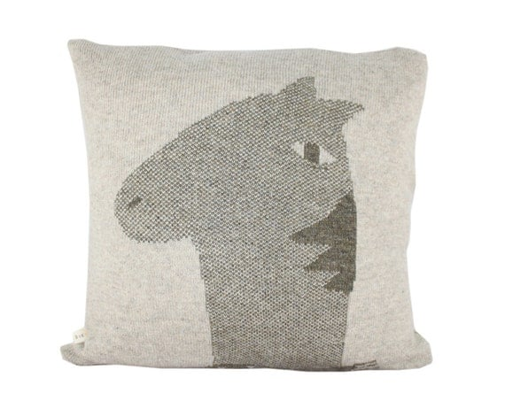 Decorative Pillow -Hercules, the horse - soft knitted pillow - grey, brown, 18x18, includes insert
