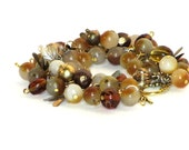 Yellow Jade Cha Cha, Gold Bracelet, Victorian Style Brass Bugs, Glass Beads, :Rich Autumn
