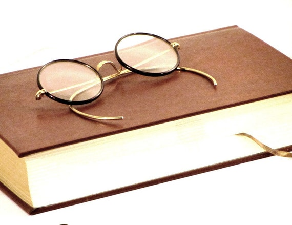 Vintage Windsor Round Eyeglasses, c1930, Bakelite, Lennon Style, Original Metal Case