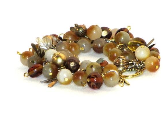 Yellow Jade Cha Cha, Gold Bracelet, Victorian Style Brass Bugs, Glass Beads, :Rich Autumn