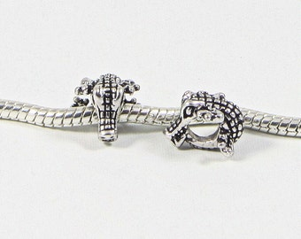 3 Beads - Alligator Gator Crocodile Louisiana Silver European Charm Bead E0725