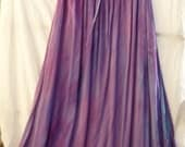 Floor length skirt/dress with pockets and elastic/drawstring. Hand dyed amethyst feast.