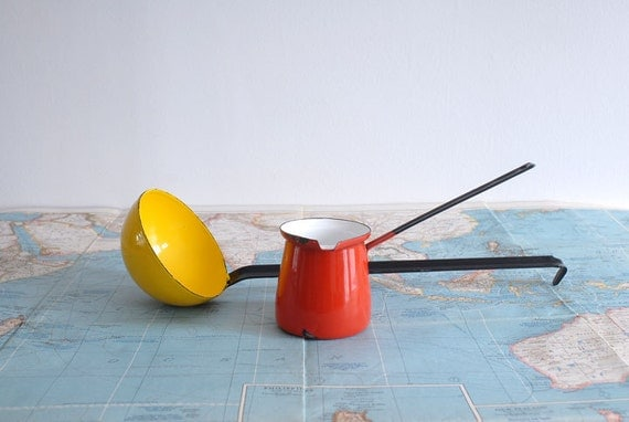 Bright Yellow Enamel Ladle and Red Turkish Coffeepot - Colorful Danish Modern Kitchenware