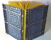 50% DISCOUNT SALE - Now 5 GBP  - Blue Swirl Sketchbook Hand Sewn ooak