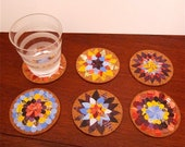 Cork Coasters, Magazine Paper Flower Collage, Set of Six