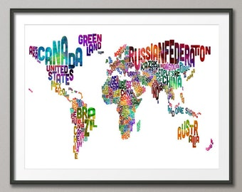 Typographic Text Map of the World Map, Art Print (175)