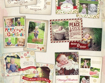 PSD Christmas Photo card template - Vintage Holidays - E517