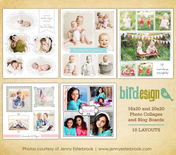 "INSTANT DOWNLOAD - 10 Blog Boards & 16x20"" / 20x20"" Collage Templates - E464"