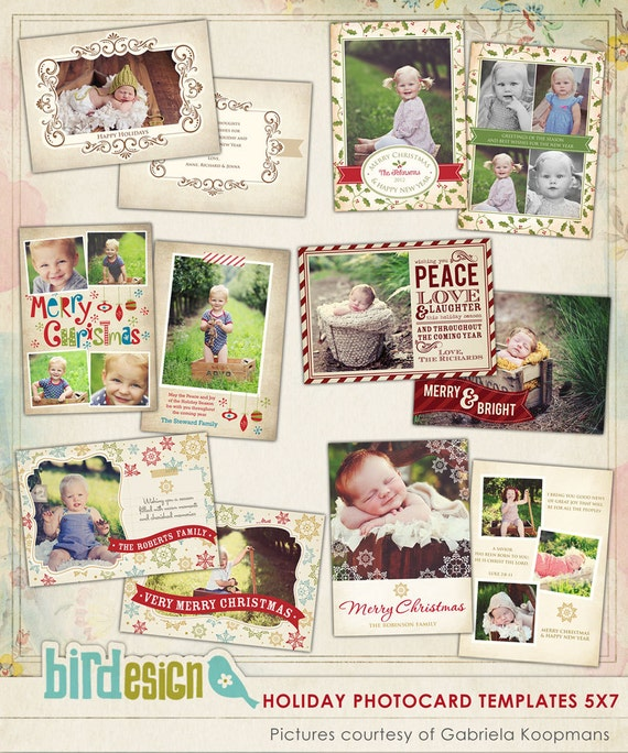 psd christmas photo card template vintage holidays e517. Black Bedroom Furniture Sets. Home Design Ideas