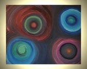 20% Off SALE Cosmos - 20 x 16 Colorful Abstract Acrylic Painting on Stretched Canvas  - Circles Colorful Canvas Painting