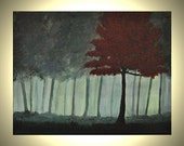 20% Off SALE Woodland Trees - 11 x 14 Landscape Woods Painting Red Green Blue Gray Hues Green Woodlands Autumn Forest Canvas Painting