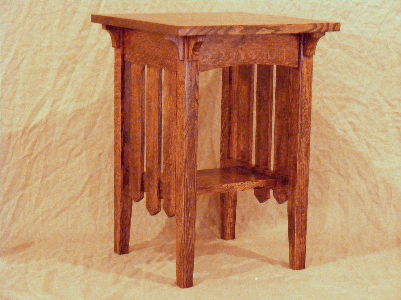 mission oak furniture arts crafts style l end table