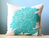 Pillow Cushion Cover Decorative Peony Flower Linen Throw 20x20 Teal Turquoise  Blue Green Hand-Printed Screen Print Modern Wedding Gift