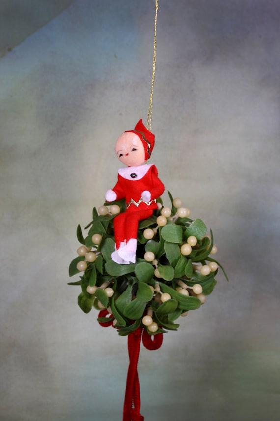Vintage christmas kissing ball kitschy plastic mistletoe and pixy