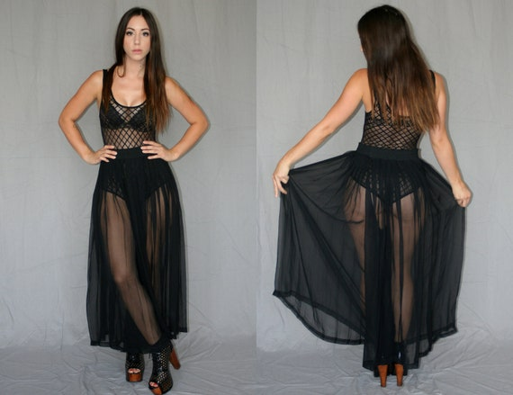 Sheer Black Palazzo Pants (Pants/Skirt)