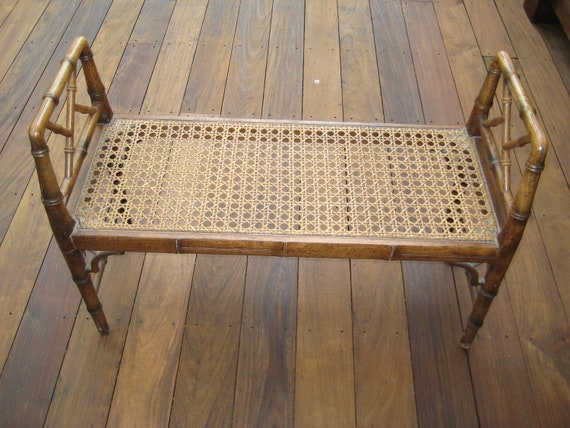 Vintage Faux Bamboo Chinese Chippendale Style Bench