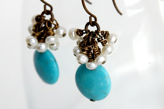 Pearl, Turquoise Earrings, Freshwater pearl, Blue Turquoise Magnesite, Semiprecious, Natural brass Jewelry