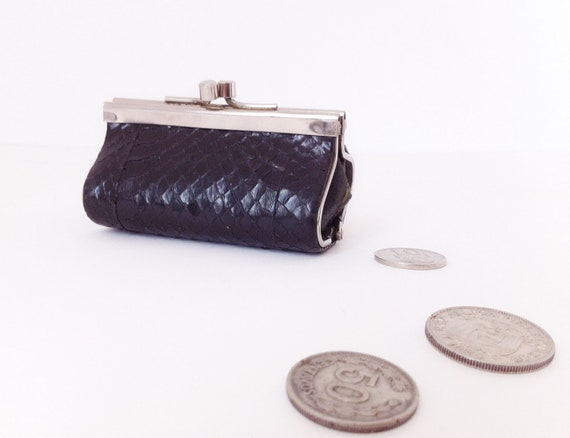 Black coin purse snake leather
