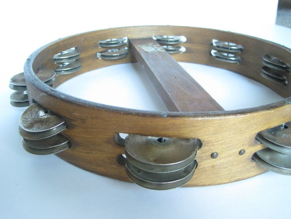 60's Vintage Wooden Tambourine - Musical Insturment