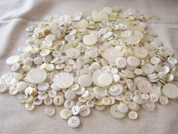 Huge bargain lot mix of vintage buttons -- white, cream, light neutrals