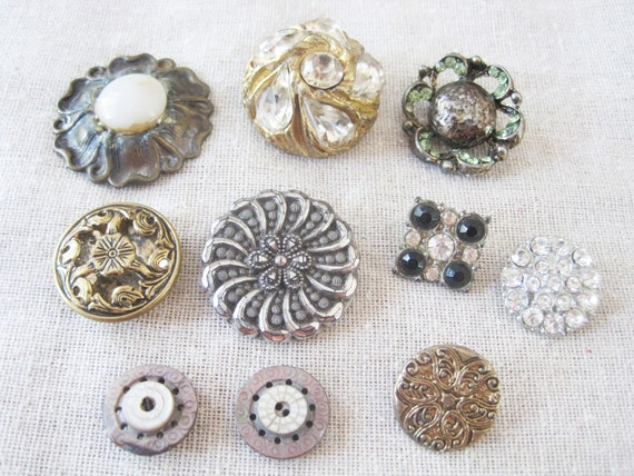 Mixed lot of 10 ornate vintage buttons -- rhinestone, metal, shell, mirror back