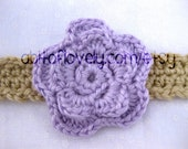 Baby / Infant / Toddler Purple & Tan Crochet Flower Headband - YOUR Choice Size, Color - photo prop - crochet