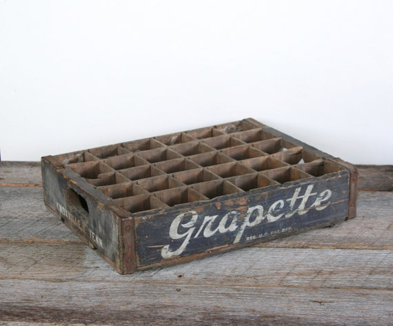 Vintage Grapette Soda Bottle Wood Carry Crate Knoxville Tennessee